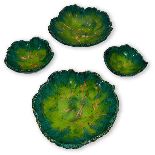 Joel-A.-Prevost-_-Ceramic-Deco-Bowls-Green-with-Pink-Set-of-4