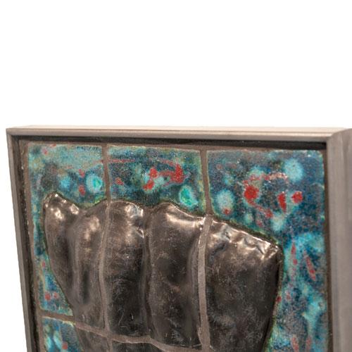 Joël A. Prévost | Sculpture | Bronze Torso Mural with Blue Background 2