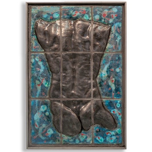 Joël A. Prévost | Sculpture | Bronze Torso Mural with Blue Background
