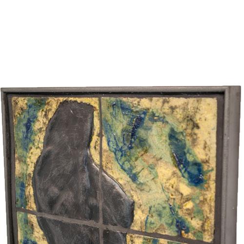Joël A. Prévost | Sculpture | Bronze Torso Mural with Yellow Background 2